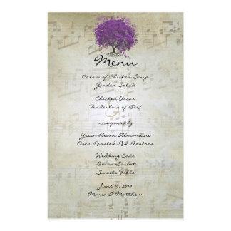 Purple Heart Leaf Tree Wedding Menu