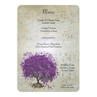 Purple Heart Leaf Tree Wedding Menu Invitations