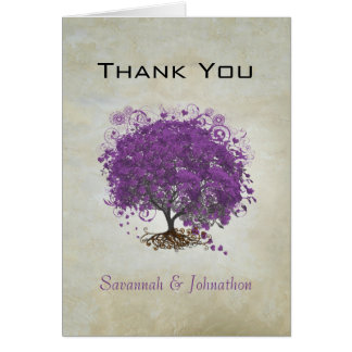 Purple Heart Leaf Tree Wedding Thank You Note Card