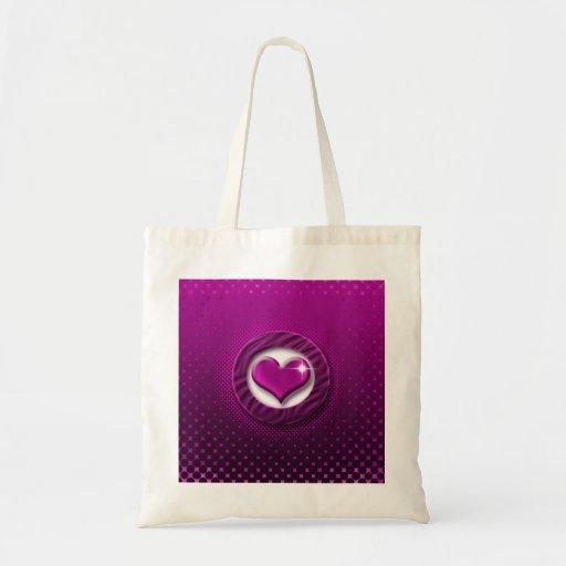 Purple heart love tote bags