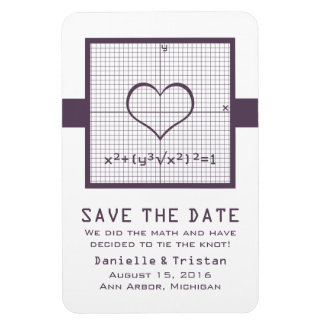 Purple Heart Math Graph Save the Date Magnet