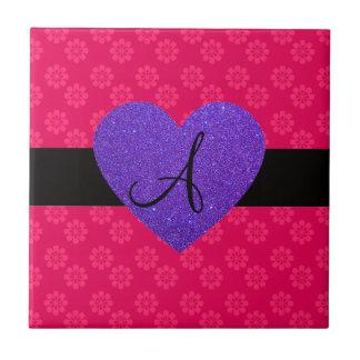 Purple heart monogram pink flowers ceramic tile