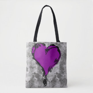 Purple Heart on Grey Tote Bag