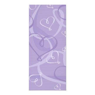 Purple heart pattern 10 cm x 24 cm invitation card