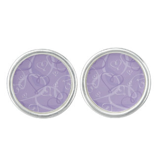 Purple heart pattern cuff links