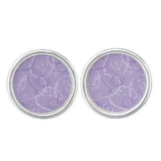 Purple heart pattern cufflinks