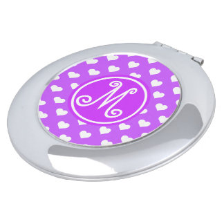 Purple Heart Pattern Monogram Vanity Mirrors