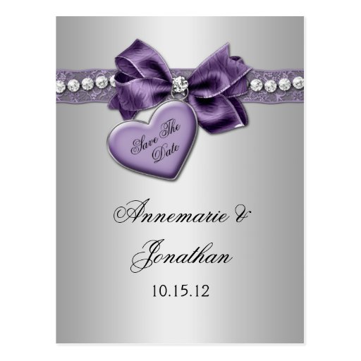 Purple Heart Ribbon Diamonds Silver Save The Date Postcards