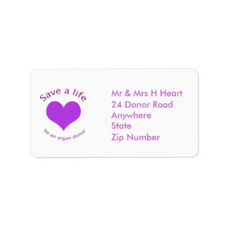 Purple heart save a life organ donation labels
