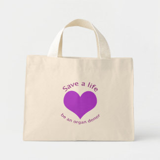 Purple heart save a life organ donation tote bag