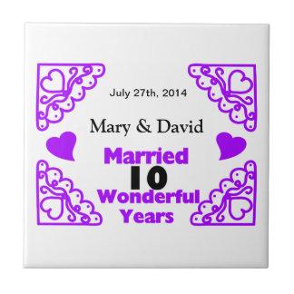 Purple Heart Swirls Names & Date 10 Yr Anniversary Ceramic Tile