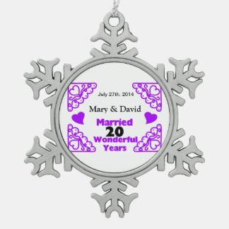 Purple Heart Swirls Names & Date 20 Yr Anniversary Snowflake Pewter Christmas Ornament