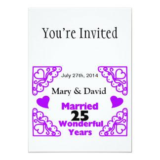 "Purple Heart Swirls Names & Date 25 Yr Anniversary 5"" X 7"" Invitation Card"