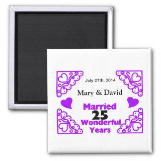 Purple Heart Swirls Names & Date 25 Yr Anniversary Refrigerator Magnet