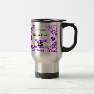 Purple Heart Swirls Names & Date 25 Yr Anniversary Coffee Mugs