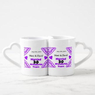 Purple Heart Swirls Names & Date 30 Yr Anniversary Coffee Mug Set