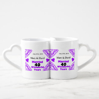 Purple Heart Swirls Names & Date 40 Yr Anniversary Couples Mug