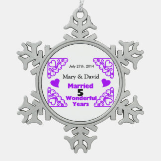 Purple Heart Swirls Names & Date 5 Yr Anniversary Pewter Snowflake Decoration
