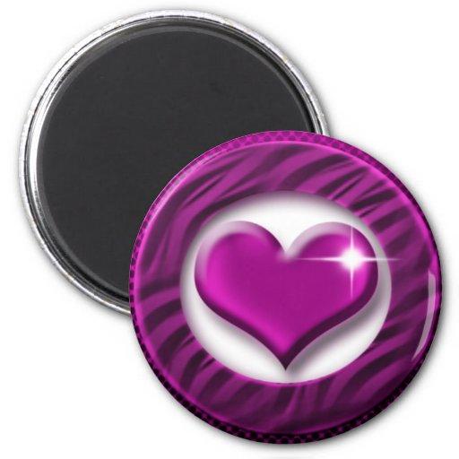 Purple heart valentine romance fridge magnet