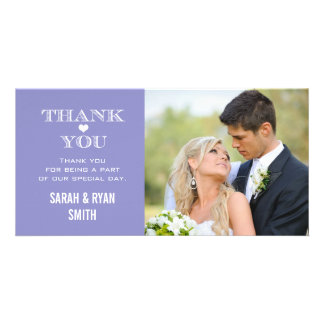 Purple Heart Wedding Photo Thank You Cards Customized Photo Card