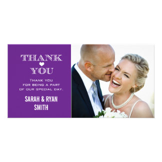 Purple Heart Wedding Photo Thank You Cards Personalised Photo Card