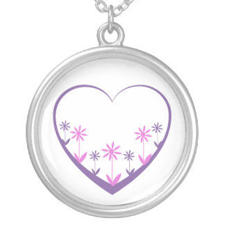 Purple heart with pink & purple flowers necklaces