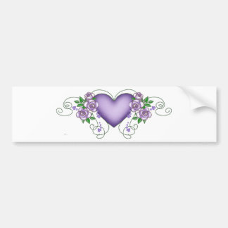 purple heart with roses & vines bumper sticker