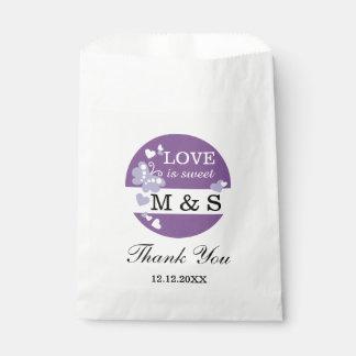 Purple Hearts And Butterflies|Monogram Party Favor Favour Bags