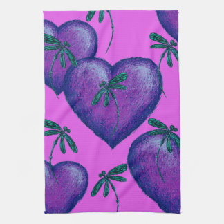 Purple Hearts and Dragonflies Kitchen Towel