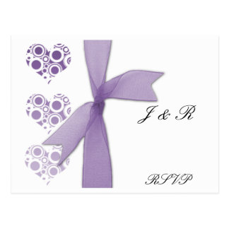 Purple Hearts and Ribbons RSVP Post Cards