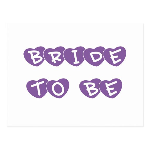 Purple Hearts Bride to Be Post Card