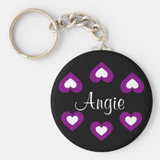 Purple Hearts Customisable Name Keychain