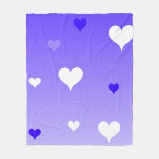 Purple hearts fleece blanket