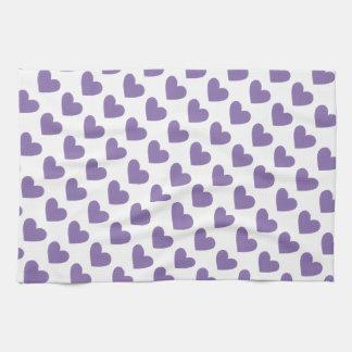 Purple Hearts Kitchen Hand Towel