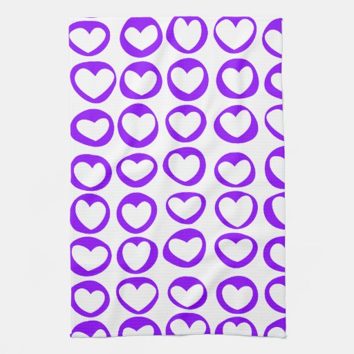 Purple Hearts Kitchen Towel