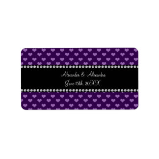 Purple hearts wedding favors address label