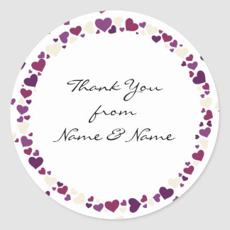 Purple Hearts Wedding Thank You Stickers