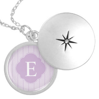 Purple Herringbone Monogram Round Locket Necklace