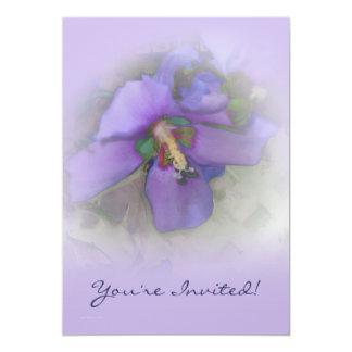 Purple Hibiscus 13 Cm X 18 Cm Invitation Card
