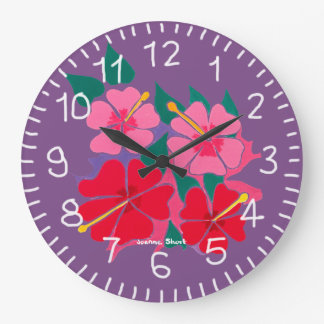 Purple Hibiscus Design Clock by Joanne short