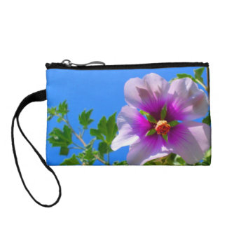 Purple Hibiscus Flower Coin Purse