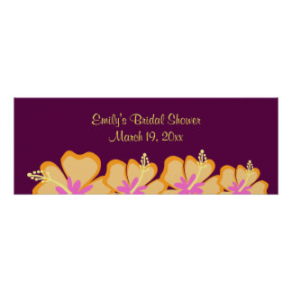 Purple Hibiscus Flower Customisable Banner Poster