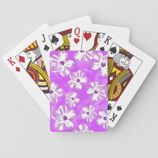 Purple Hibiscus Flowers Playing Cards