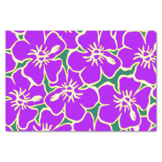 Purple Hibiscus Flowers Tropical Hawaiian Luau Tissue Paper