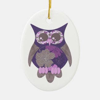 Purple Hibiscus Owl Ornament
