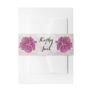 purple hibiscus wedding invitation belly band