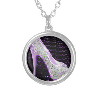 Purple High Heel Round Pendant Necklace