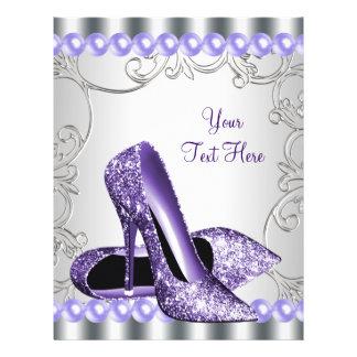 Purple High Heel Shoes Pearl Swirl 21.5 Cm X 28 Cm Flyer