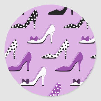 Purple high heels classic round sticker