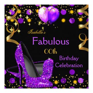 Purple High Heels Gold Balloons Birthday Party Card